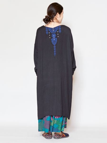 Embroidered Back High Low Hem Dress
