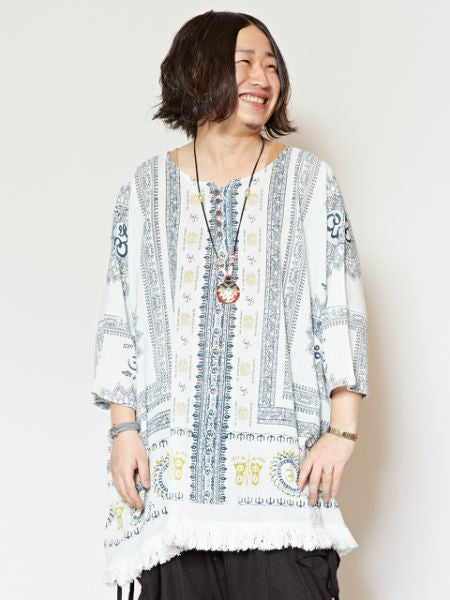 Indian Cotton Ethnic Pattern Oversized Top-Ametsuchi