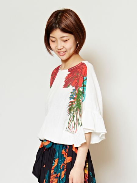 Floral Print Top with Flare Sleeve-Ametsuchi