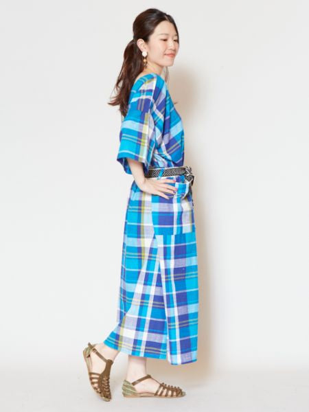 African Plaid Big Silhouette Dress-Dresses-Ametsuchi