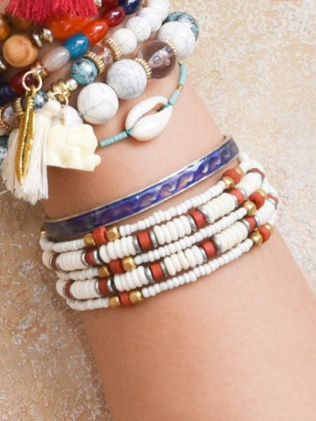 African Inspired Color Beads Bangle