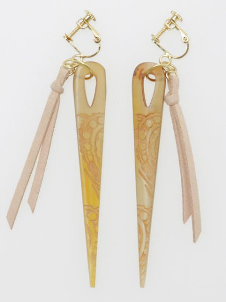 Horn Needle Clip Earrings