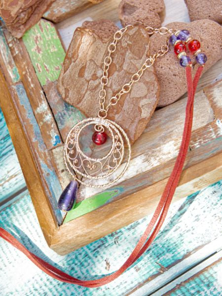 FILIGREE Work Teardrop Necklace-Necklaces-Ametsuchi