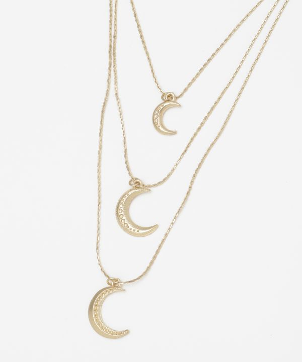 Triple Layered Moons Necklace -Necklaces-Ametsuchi