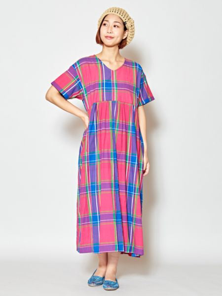 Plaid Pattern Short Sleeve Kaftan Dress