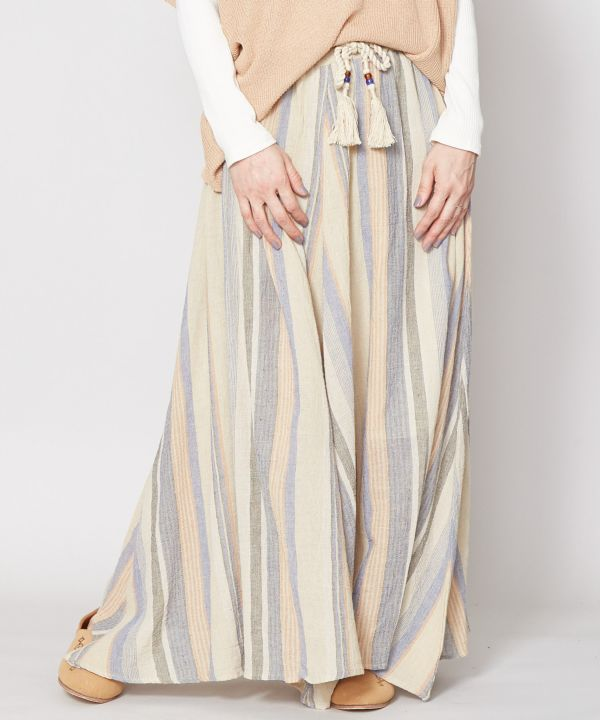 Textured Stripe Skirt-Ametsuchi