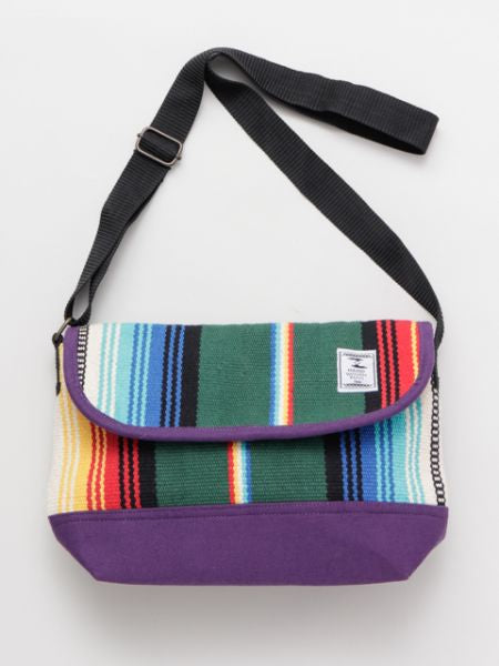 Mexican SARAPE Pattern Hand Woven Rug Shoulder Bag-Ametsuchi
