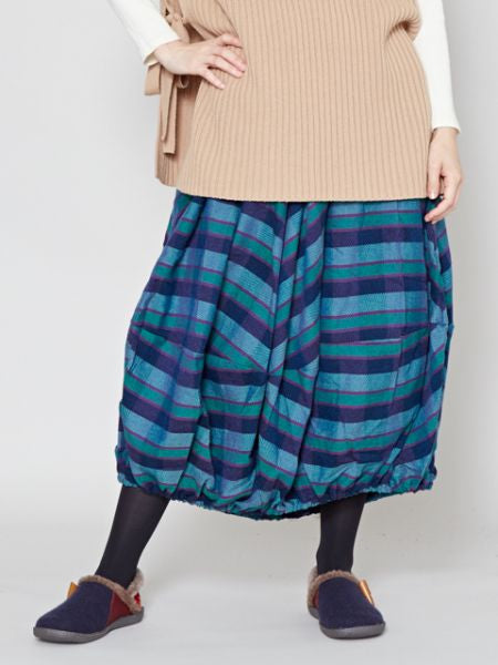 Woven Plaid Balloon Skirt
