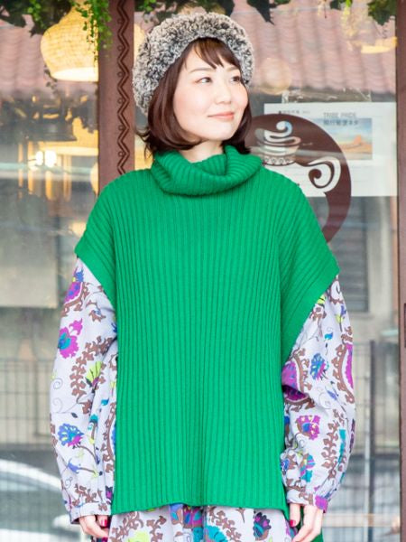 Rib Knit Turtleneck Top-Tops-Ametsuchi