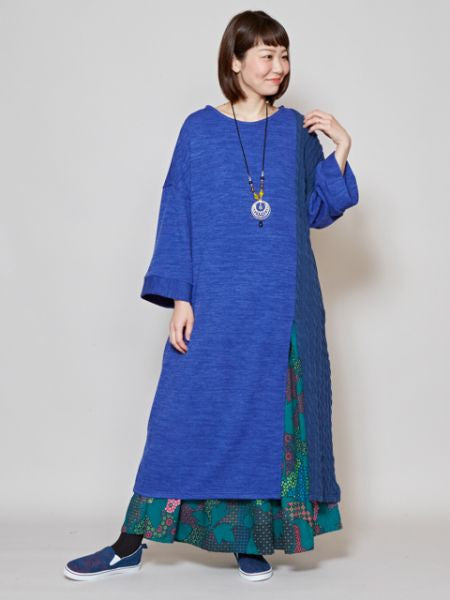 Patchwork Knit Side Slit Long Dress