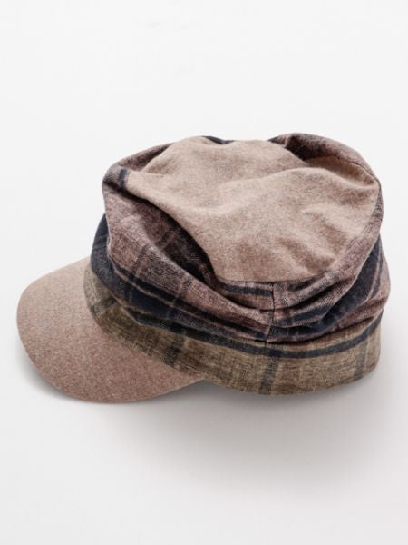 Plaid Patchwork Cap-Caps & Hats-Ametsuchi
