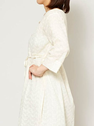 French Lace Inspired Collarless Shirt Dress-Ametsuchi