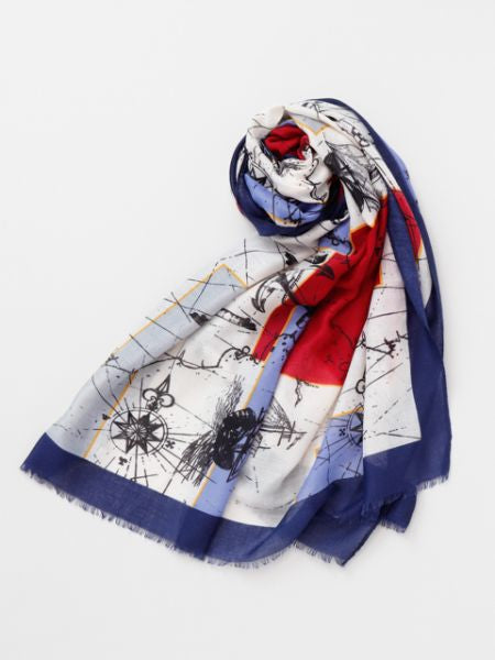 Sailing Chart Scarf-Scarves-Ametsuchi