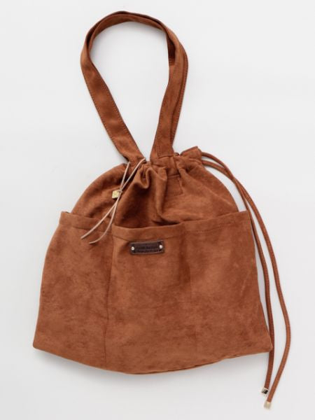 Suede Drawstring Tote Bag
