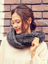 Cable Knit x Fur Snood-Scarves-Ametsuchi