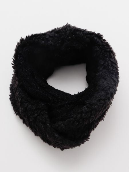 Cable Knit x Fur Snood -Scarves-Ametsuchi
