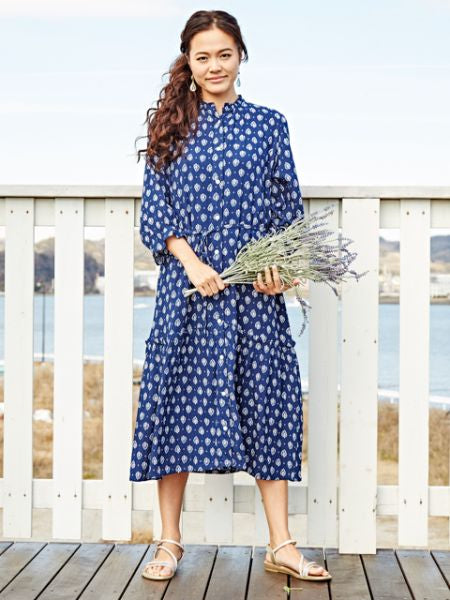 3/4 Sleeve Shirt Dress-Ametsuchi