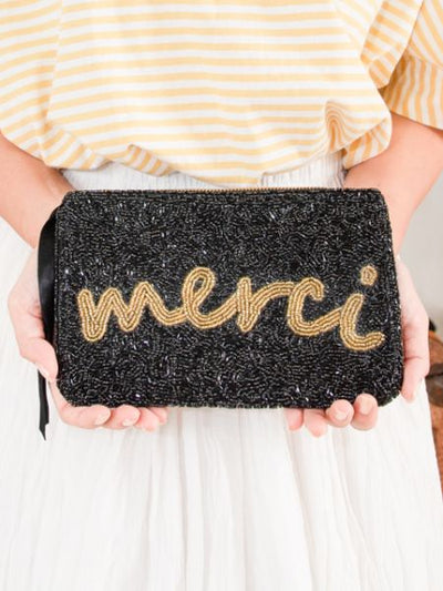 MERCI Bead Embroidered Pouch