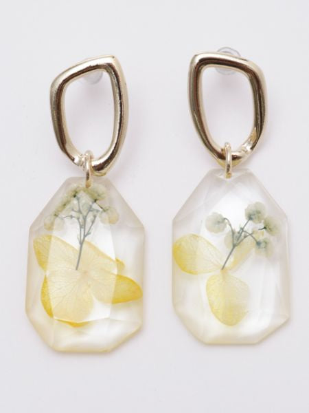 Cut Glass Stone Flower Earrings