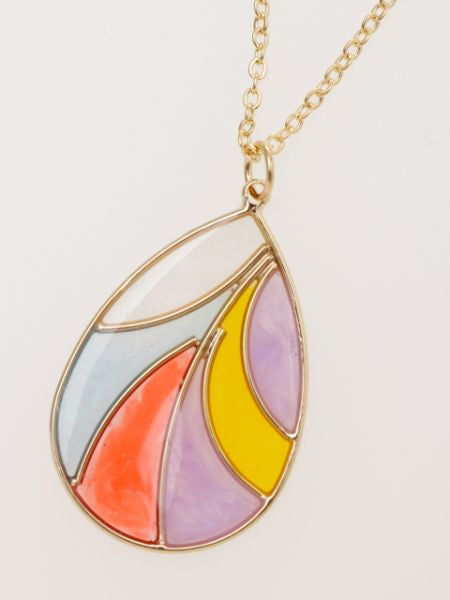Stained Glass Style Drop Necklace