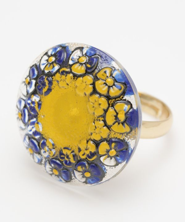 Czech Glass Button Ring-Ametsuchi