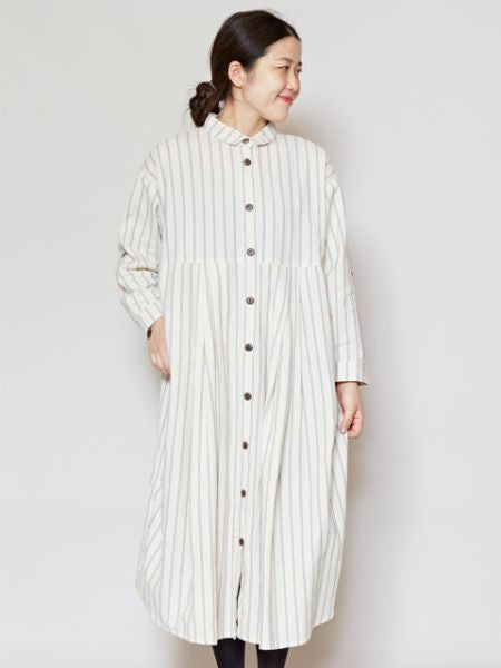 Nepalese Cotton Stripe Shirt Dress-Ametsuchi