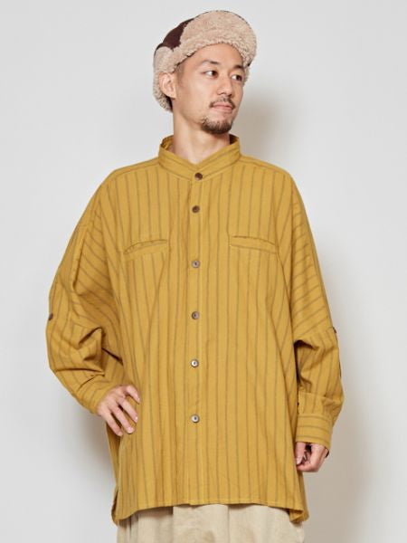 Nepalese Cotton Stripe Band Collar Shirt-Ametsuchi
