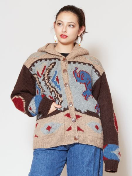 Nepal Made Hand Knitted Hoodie Cardigan