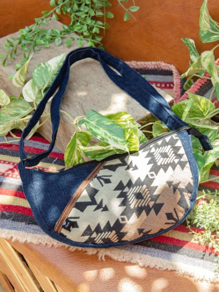 Denim x Hand Woven Jacquard Small Shoulder Bag