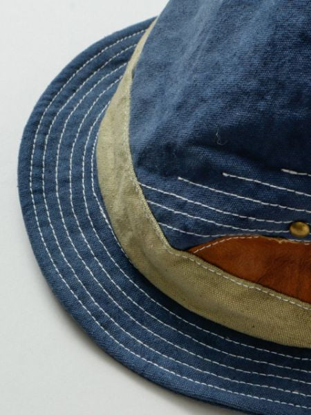 Vintage Leather Patchworked Hat