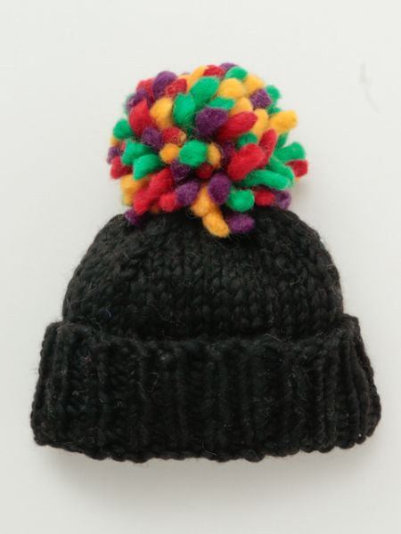 Colrful Pompom Hand Knitted Beanie