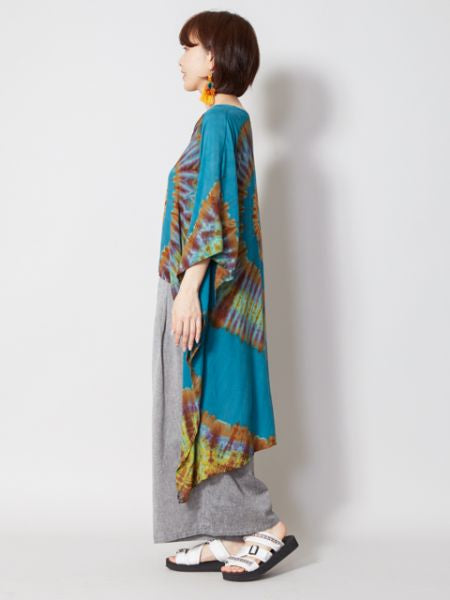 Tie Dye Hi Lo Hem Kaftan Dress