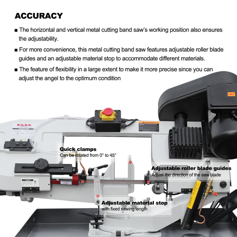 KAKA Industrial BS-712RH Metal Cutting Band Saw Machinery, 178mm Cutting Band Saw