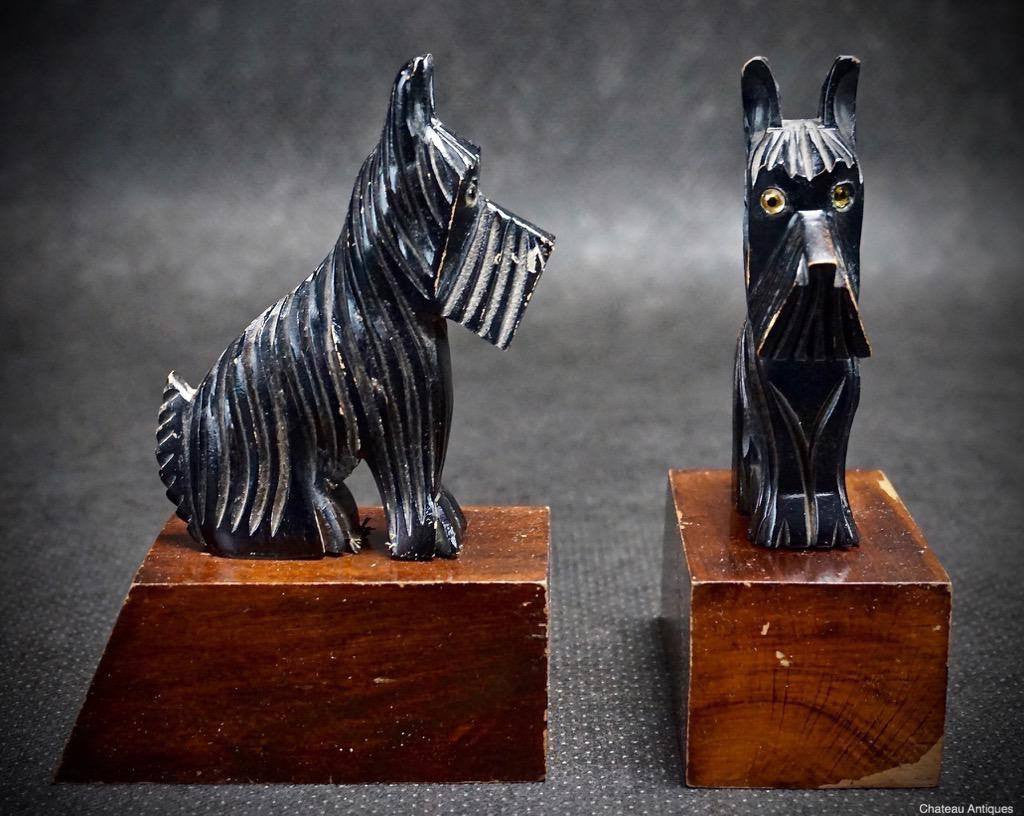 Periods & Styles Antiques Bookend Books Dogs Art Deco
