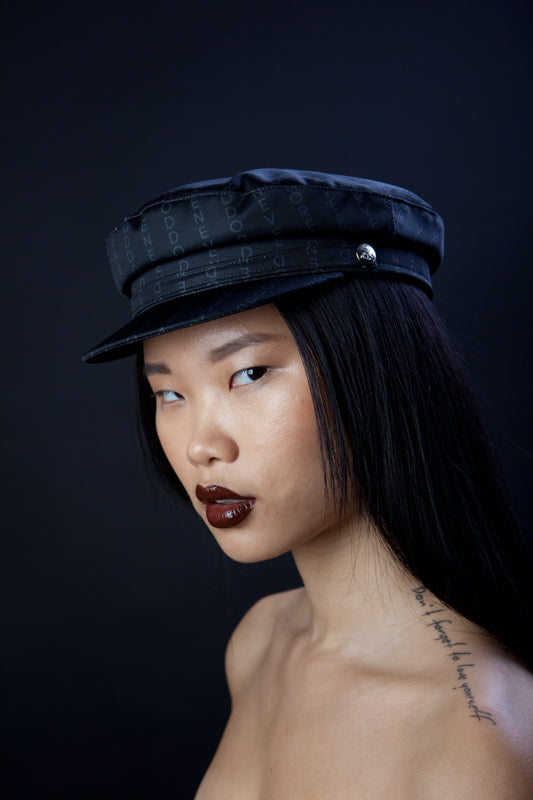 """Never odd or even"" Black Satin Nautical Cap"