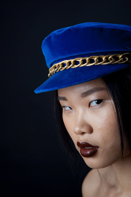 Electric Velvet Nautical Cap, Chained Gold