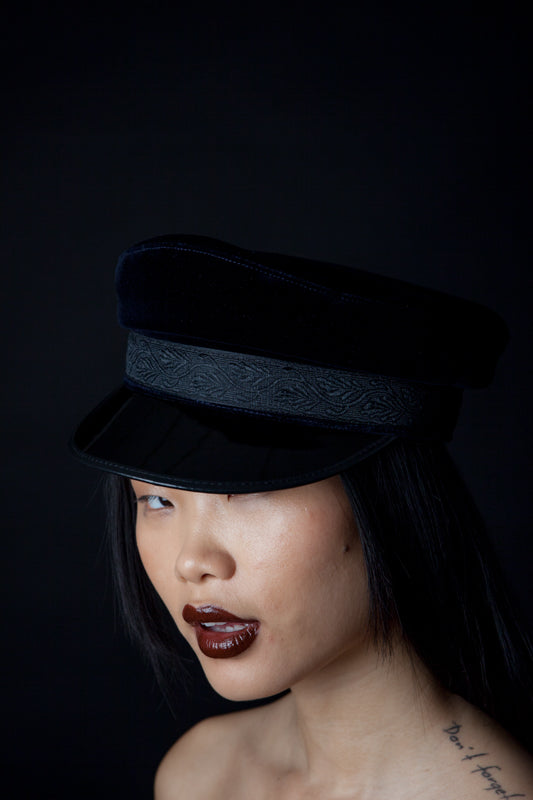 Classic Velvet Greek Fisherman's Hat with Lace in Black and Dark Blue