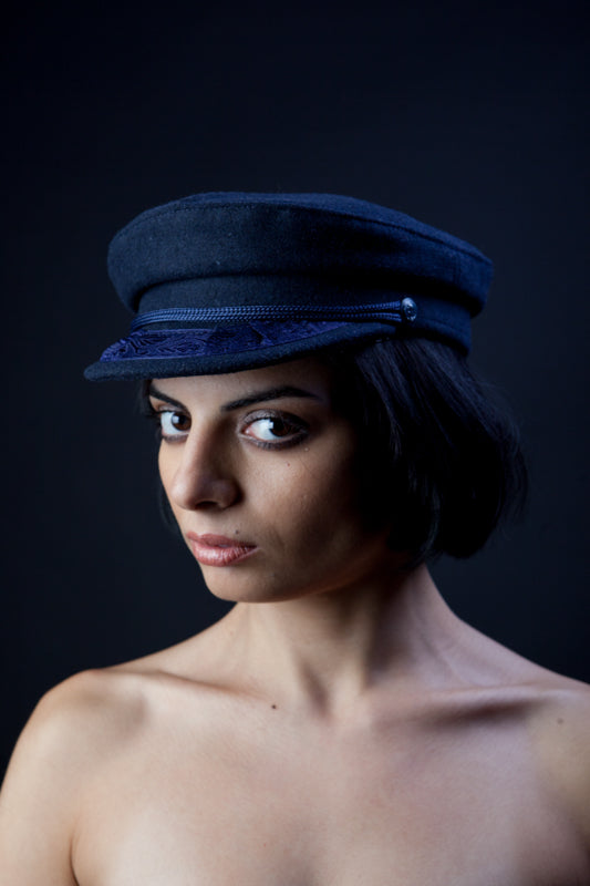 Greek Fisherman's Hat, 100% Wool, in black and blue