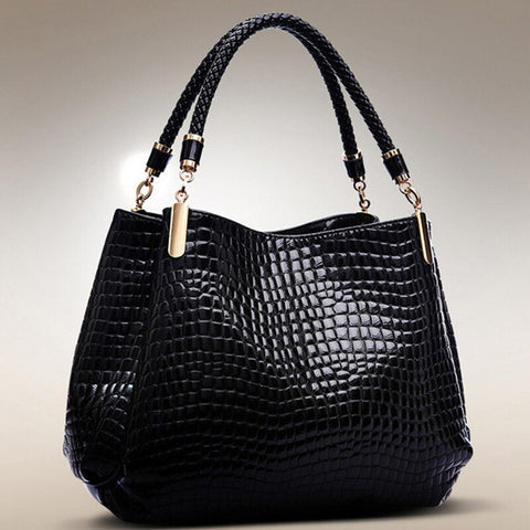 Calla PU leather alligator tote handbag