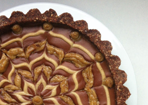 Raw Vegan  Chocolate Caramel Tart Sweet Treat