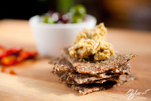 Kalamata Olive Crackers from Make it Raw. Made with activated almonds, organic flaxseed and olives.