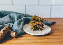 Turmeric and Carrot Crackers are gluten free, paleo and keto. Perfect for a nutritious snack or light meal.