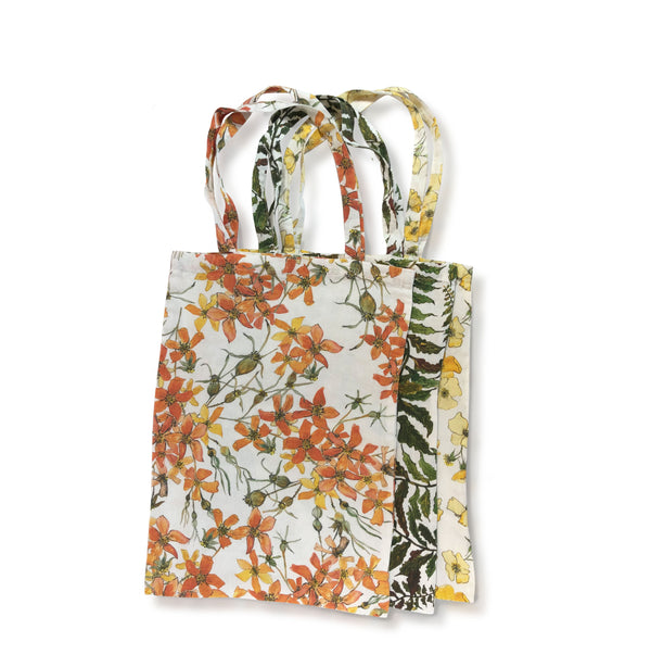 Yellow Rose Printed Linen Book Bag