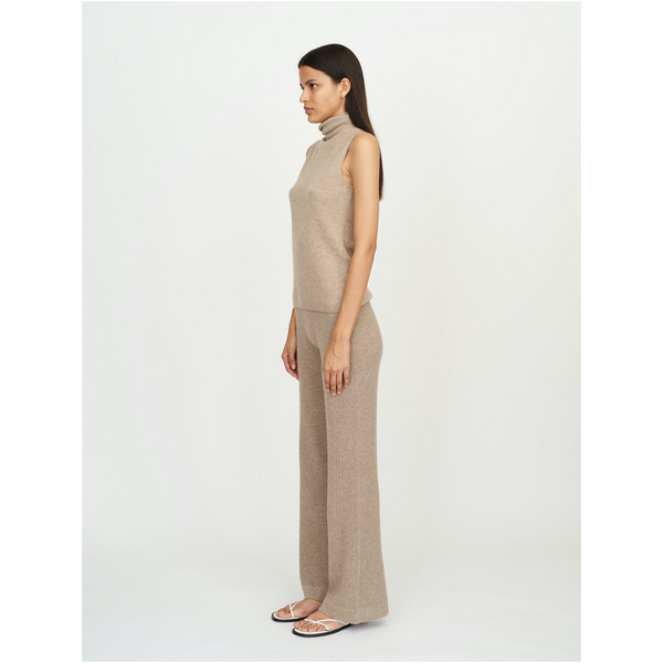 Sleeveless Roll Neck-Light Brown