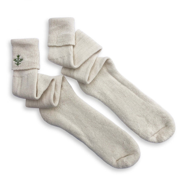 Alpaca Boot Socks with Green Embroidered Thyme Sprig