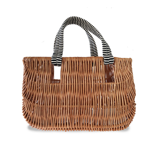 Willow Basket Bag with Black Handles