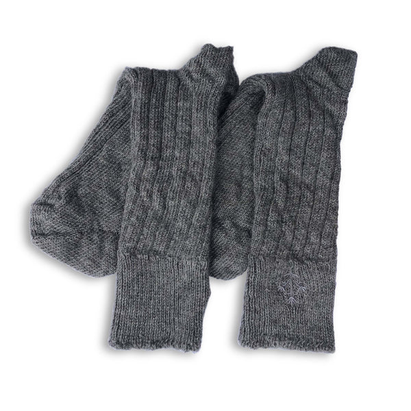 Grey Alpaca Bed Socks with Embroidered Thyme Sprig