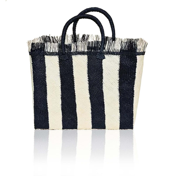 Narino Woven Tote in Midnight Blue Stripe
