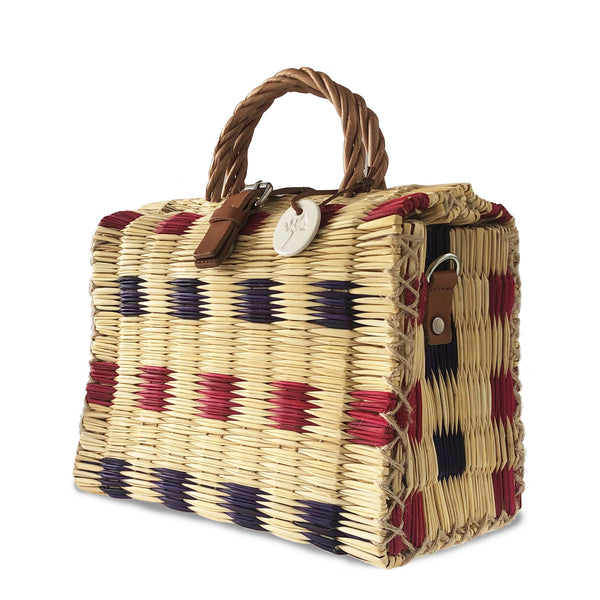Blue & Red Handwoven Reed Bag