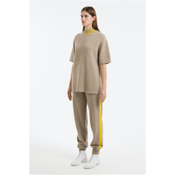 Ankle Cuff Pants With Side Panel-Light Brown/Yellow